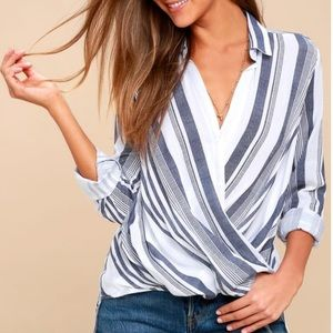 SAIL WEST BLUE AND WHITE STRIPED SURPLICE TOP